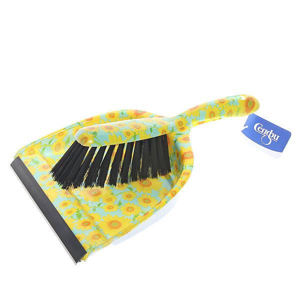 Набор для уборки, щетка-сметка и совок для мусора 33см 272-10 Подсолнухи купить оптом и в розницу