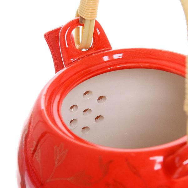 Чайник заварочный керамический 700 мл с ситом ″Узоры″ красный купить оптом и в розницу