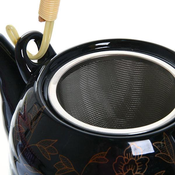 Чайник заварочный керамический 700 мл с ситом ″Узоры″ черный купить оптом и в розницу