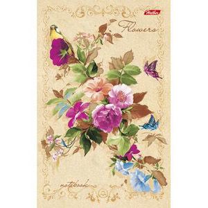 """Блокнот А6 120л.нелин.скрепка,тв.обл.HATBER, """"Flowers. ВАНИЛЬ"""" ЕВРО купить оптом и в розницу"""