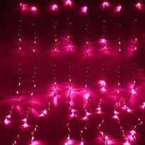 Занавес светодиодный ш 2 * в 2,5м, 672 лампы LED, ″Водопад″, Розовый, 8 реж, прозр.пров. купить оптом и в розницу