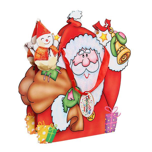 Пакет подарочный 27х24 см ″Дед Мороз со Снеговичком″ резной купить оптом и в розницу