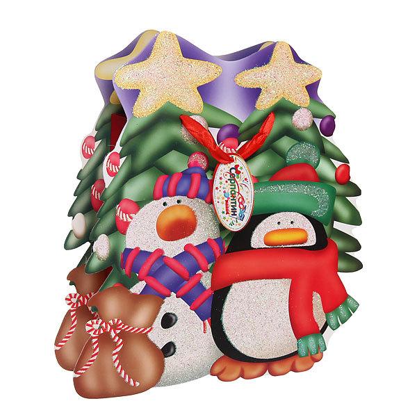 Пакет подарочный 28х27 см ″Снеговичок с пингвином″ резной купить оптом и в розницу