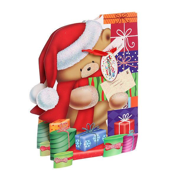 Пакет подарочный 28х27 см ″Мишутка Новогодний″ резной купить оптом и в розницу