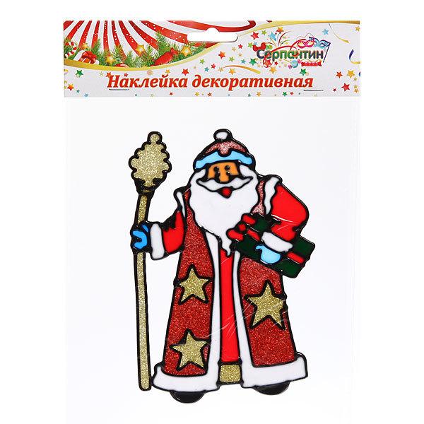 Наклейка на стекло 18*12см,″Дед Мороз с посохом″ ВА249 купить оптом и в розницу