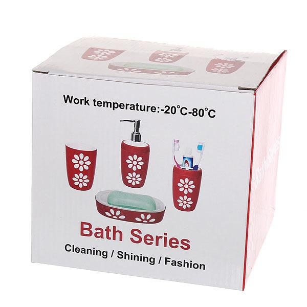 Набор для ванной из 4-х предметов 6414 фуксия купить оптом и в розницу