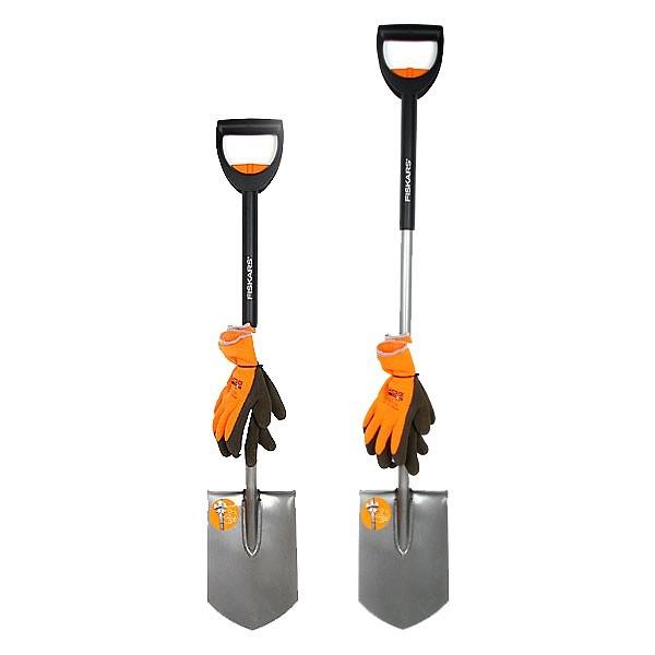 Лопата садовая телескопическая + перчатки (131306) FISKARS купить оптом и в розницу