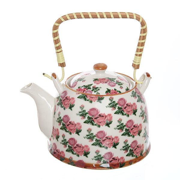 Чайник заварочный керамический 750 мл с ситом ″Розы″ ХХ0011 купить оптом и в розницу