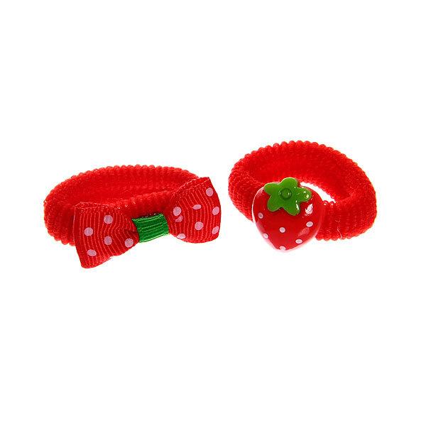 Резинки для волос на блистере 6шт ″Клубничка″, цвет красный купить оптом и в розницу