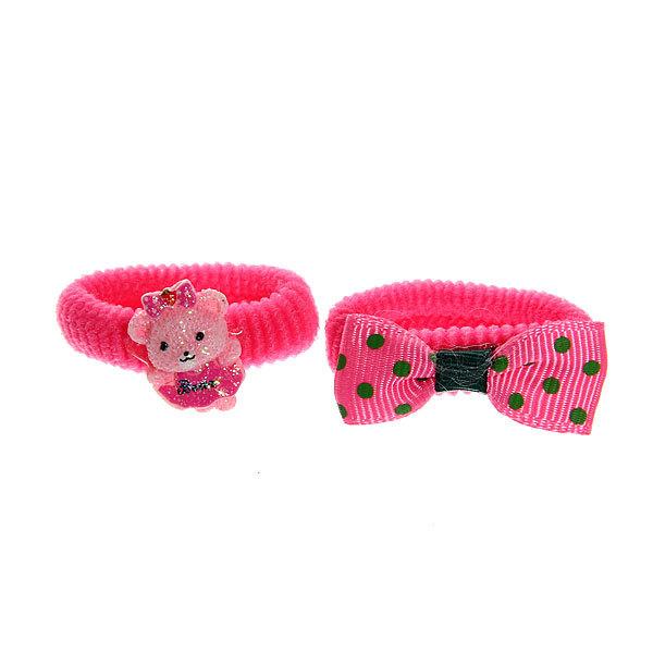 Резинки для волос на блистере 6шт ″Мишка″, цвет розовый купить оптом и в розницу