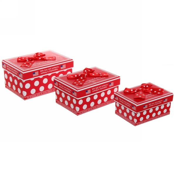 Набор из 3-х прямоугольных коробок + бант (размеры с 11,2*8*5,8 по 15,7*11,2*8,2см) купить оптом и в розницу