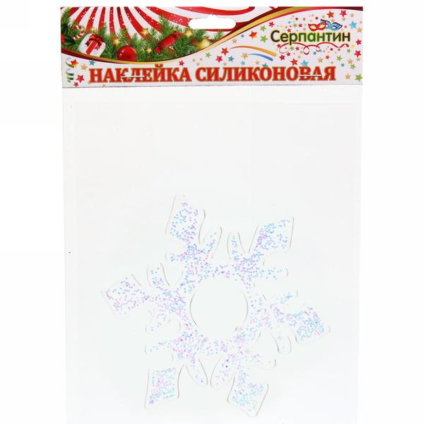 Наклейка на стекло 12см,″Снежинка″ серебро A-048 купить оптом и в розницу
