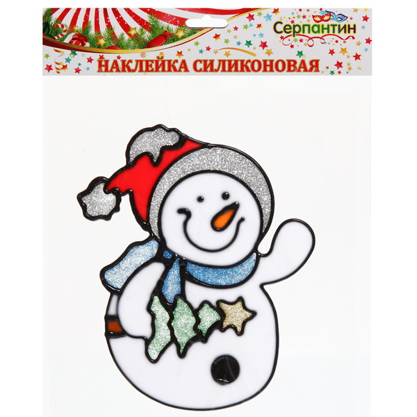 Наклейка на стекло 13*11см,″Снеговичок с елочкой″ A-029 купить оптом и в розницу