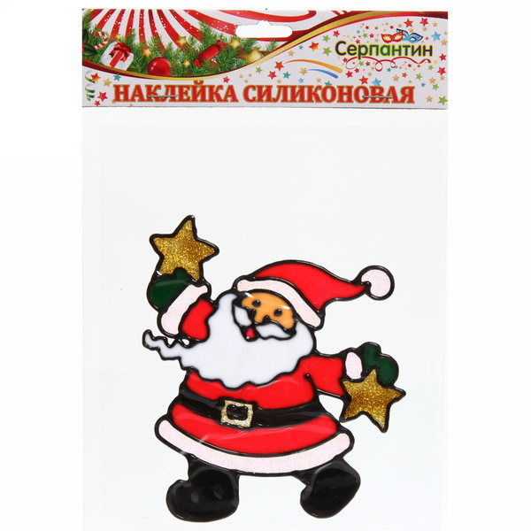 Наклейка на стекло 13*11см, ″Дед Мороз со звездой″ A-009 купить оптом и в розницу