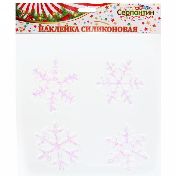 Набор наклеек на стекло 4 шт, ″Белые снежинки″, 8,5 см купить оптом и в розницу