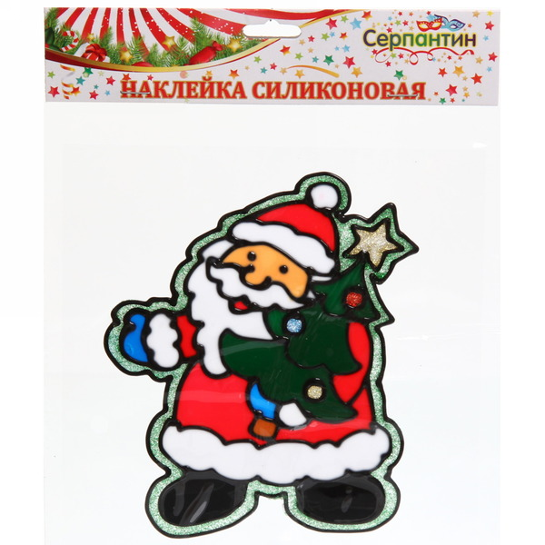 Наклейка на стекло 16*13см,″Дед Мороз с ёлочкой″ A-085 купить оптом и в розницу