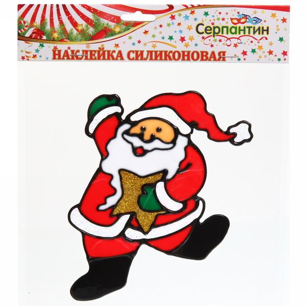 Наклейка на стекло 16*12см,″Дед Мороз со звездой″ A-060 купить оптом и в розницу
