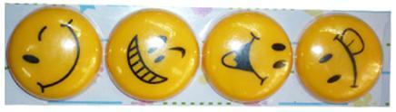 """Магниты д/досок D-40мм YIWU """"Смайлики"""" 4шт желтые купить оптом и в розницу"""