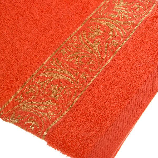 Махровое полотенце 50*90см теплый коралловый с бордюром ЭК90 купить оптом и в розницу