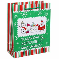 Пакет подарочный 18х23 см вертикальный ″Подарок для хорошего мальчика″, Снежон и Борода купить оптом и в розницу