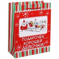 Пакет 18х23 см матовый ″Подарок для хорошей девочки″, Снежон и Борода, вертикальный купить оптом и в розницу