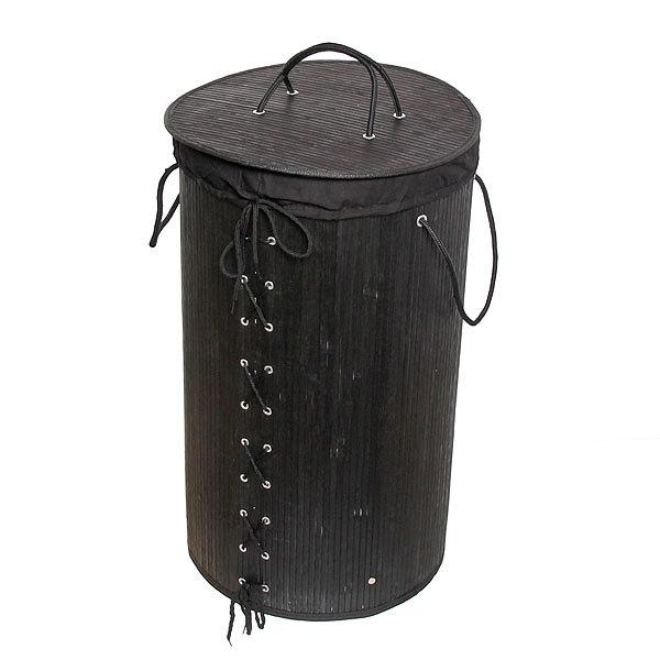 Корзина для белья бамбук 35х60 BK01/11 Black купить оптом и в розницу