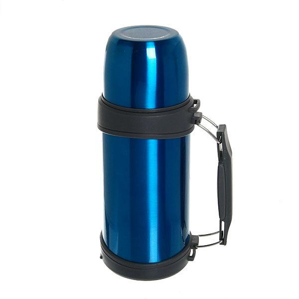 Термос с металлической колбой 750 мл ″Серп и молот″ синий купить оптом и в розницу