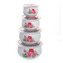 Контейнер для продуктов в наборе 4 шт с крышкой ″Цветы″ 250,400,800,1200 мл 17001 купить оптом и в розницу