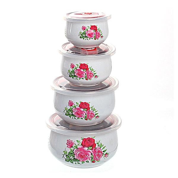 Контейнер для продуктов в наборе 4 шт с крышкой ″Цветы″ 250,400,800,1200 мл купить оптом и в розницу