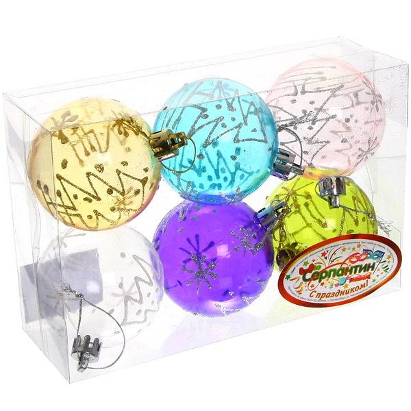 Новогодние шары ″Ёлки на стекле″ 6см (набор 6шт.) купить оптом и в розницу