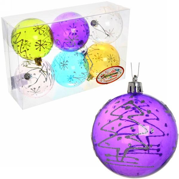 Новогодние шары ″Изморозь на окне.Елочки″ 8см (набор 6шт.) купить оптом и в розницу