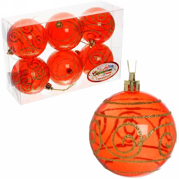 Новогодние шары ″Кристалл.Узор″ 7см (набор 6шт.) купить оптом и в розницу