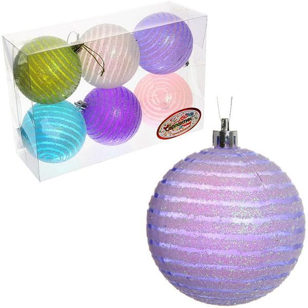 Новогодние шары ″Изморозь на окне.Спираль″ 8см (набор 6шт.) купить оптом и в розницу