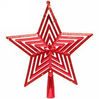 Звезда на ёлку 20см ″Полоса объемная″ красная купить оптом и в розницу
