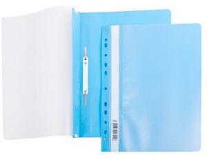 Папка-скоросшиватель A4 Hatber 140/180 мкм голубая, пластик, с перфорацией, прозр.верх купить оптом и в розницу