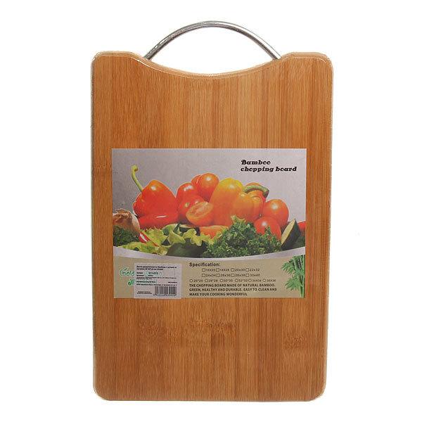 Доска разделочная из бамбука с ручкой из металла 30*20*1,8 см L93020 купить оптом и в розницу