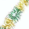 Мишура новогодняя 2 метра 9см ″Зебра″ зеленый, золотой купить оптом и в розницу