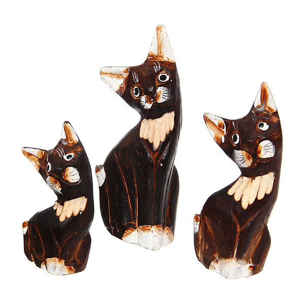 Фигурки из дерева ″Кошки набор 3шт″, 15,12,10 см купить оптом и в розницу