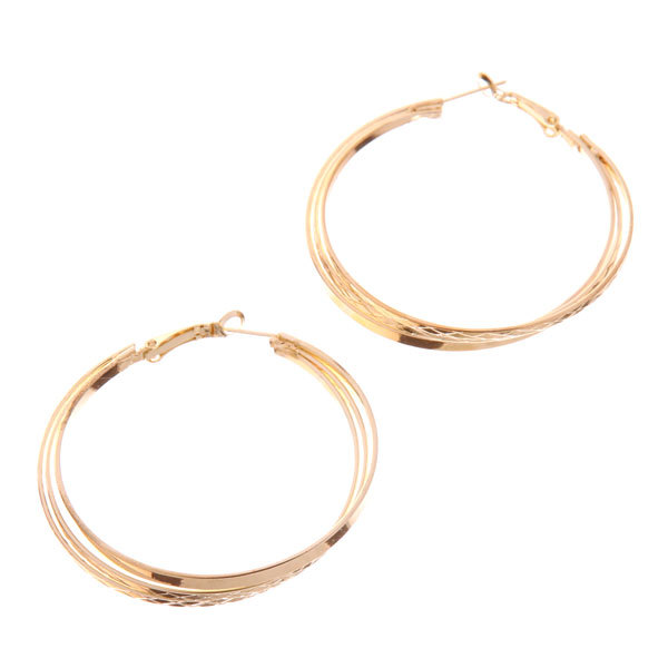 Серьги ″Золотая коллекция″ тройные кольца, цвет серебро и золото d-5см купить оптом и в розницу