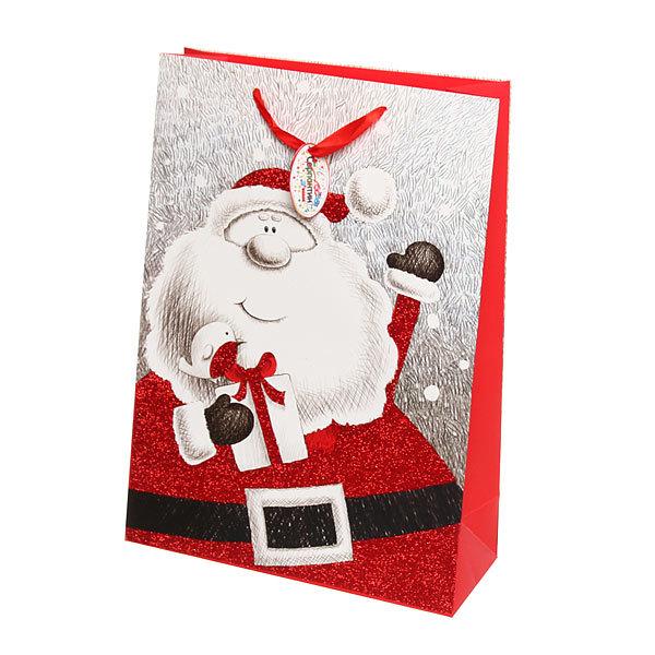 Пакет подарочный 42х30х12 см ″Дед Мороз Блеск″ купить оптом и в розницу
