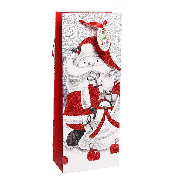 Пакет подарочный 36х14х8,5 см ″Дед Мороз Блеск″ под шампанское купить оптом и в розницу