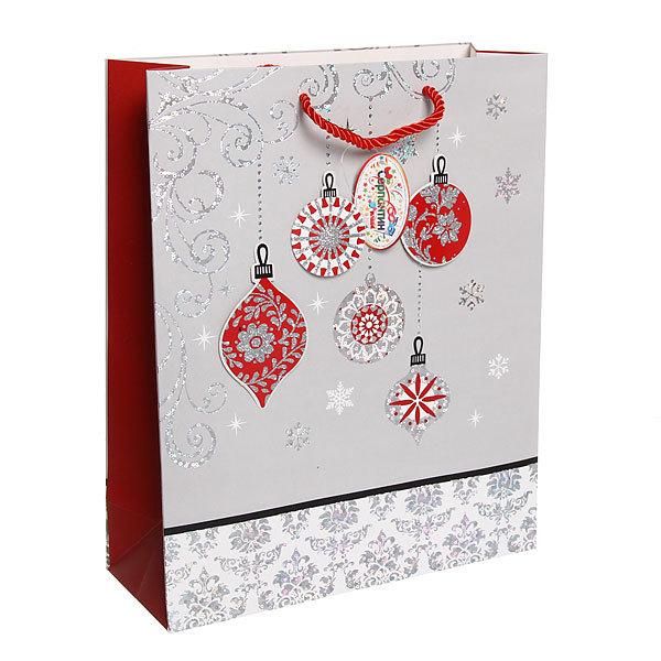 Пакет подарочный 32х26х10 см ″Новогодние Игрушки″ купить оптом и в розницу