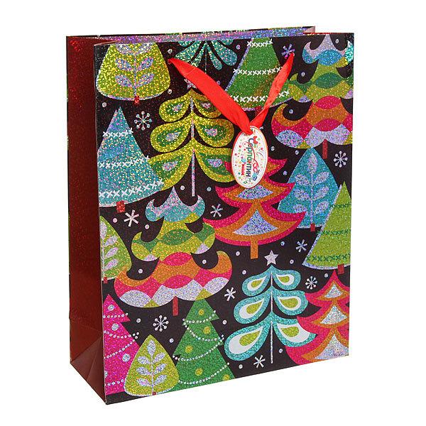 Пакет подарочный 32х26х10 см ″Ёлочки″ голограмма купить оптом и в розницу