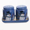 Набор для специй керамический на подставке ″Снеговики в шляпе″ 2шт купить оптом и в розницу