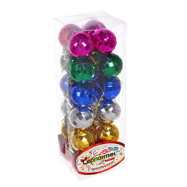 Новогодние шары 3 см ″Кристаллик″ набор 12 шт, микс купить оптом и в розницу