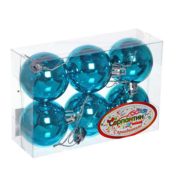 Новогодние шары ″Голубой блеск″ 5см (набор 6шт.) купить оптом и в розницу