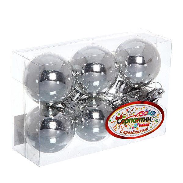 Новогодние шары 5 см ″Серебро″ набор 6 шт купить оптом и в розницу