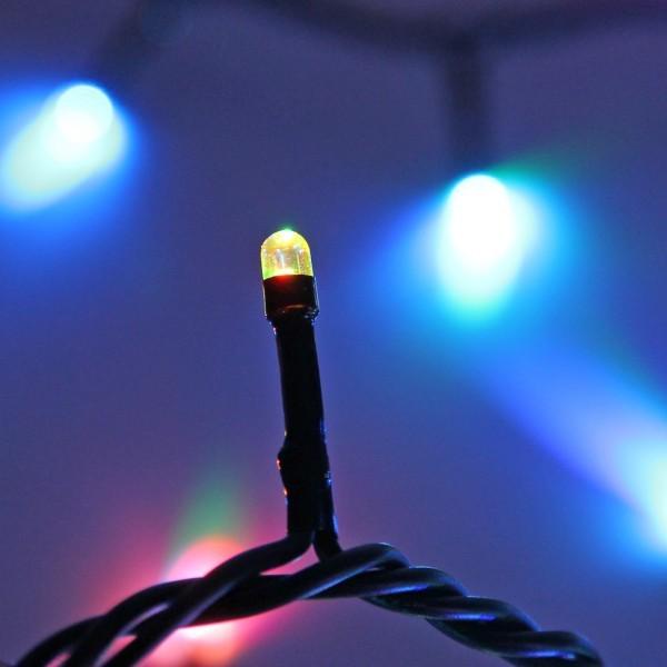 Гирлянда светодиодная уличная 20 м, 300 ламп LED, RGB(красный,зеленый,синий), авторежимы, черн.пров. купить оптом и в розницу