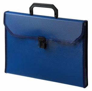 Папка-портфель 13 отд. Бюрократ, пластик с окант. А4, 07мм, синий купить оптом и в розницу