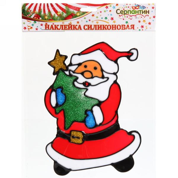 Наклейка на стекло 20*13см,″Дед Мороз с ёлкой″ A-16144 купить оптом и в розницу